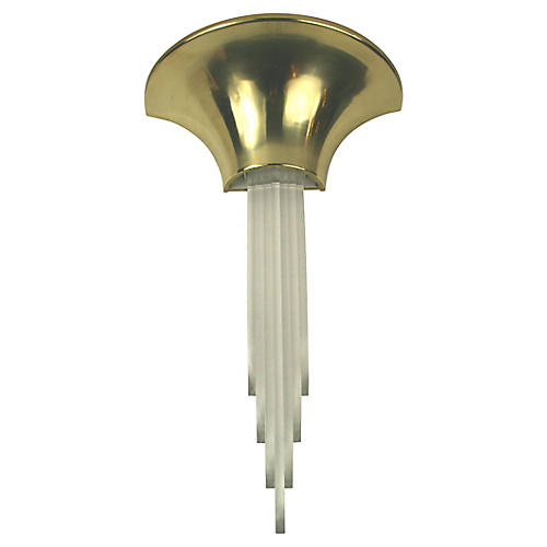 Lucite Brass Sconces, S/2