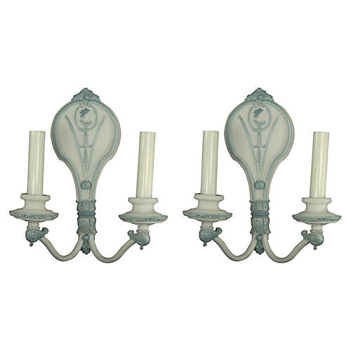 Cameo Double-Arm Sconces, Pair