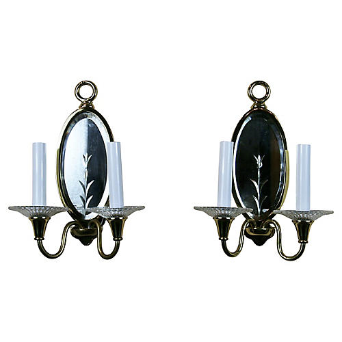 Mirrored Sconces, S/2