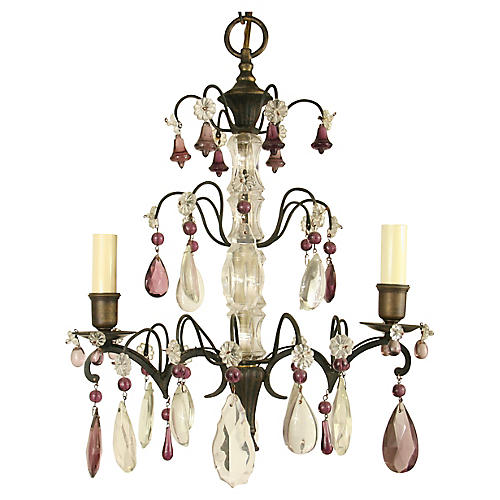 1930s Crystal Bell Chandelier