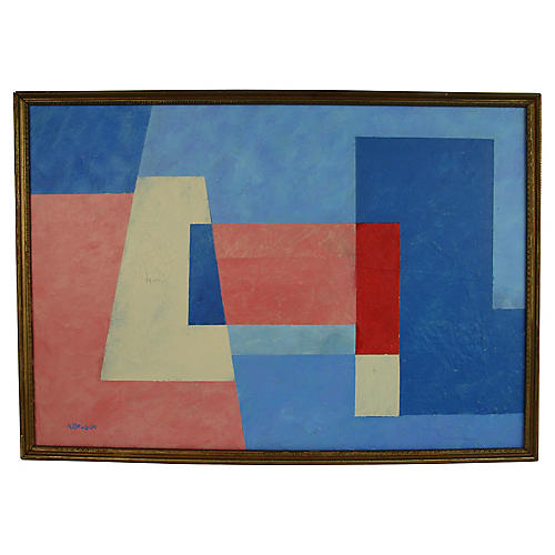 Blue Square Abstract Painting