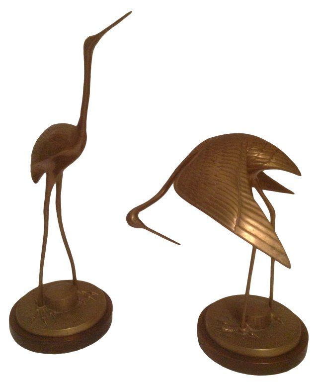 Frederick Cooper Brass Cranes, Pair