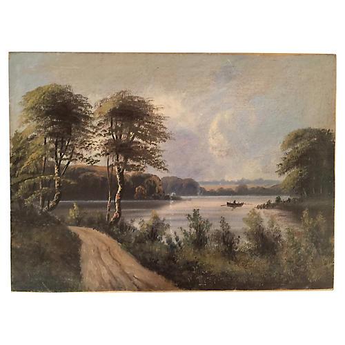 Vintage Lake Scene Oil Painting