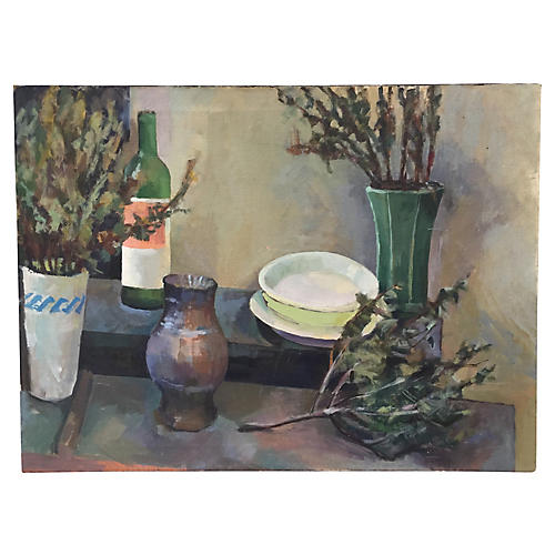 MId-Century Still Life Oil Painting