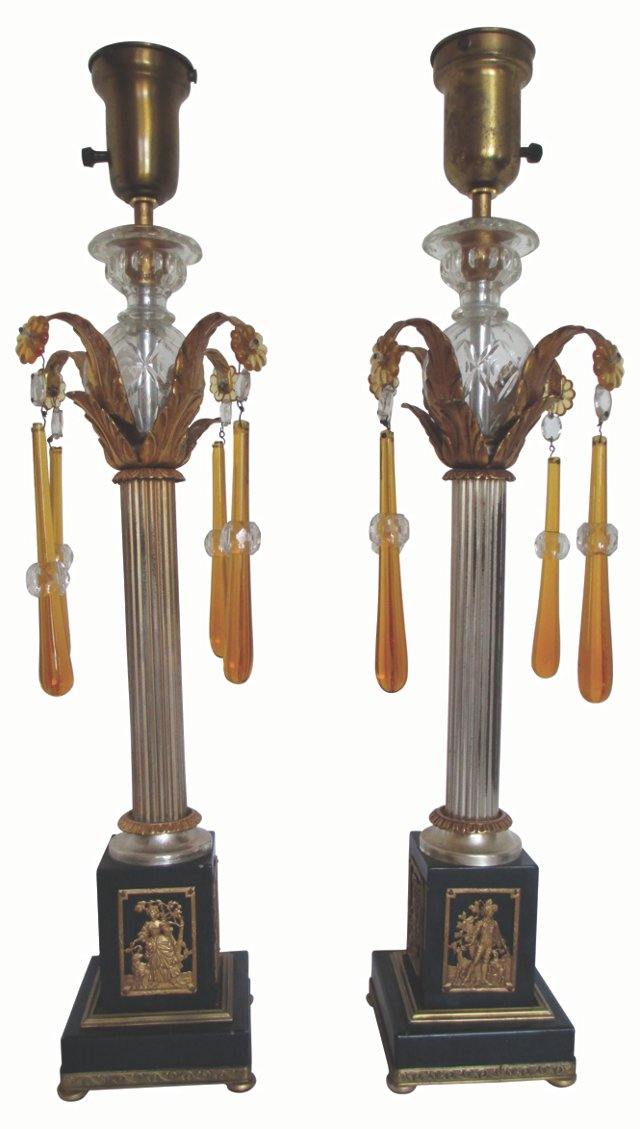 Metal Candlestick Lamps, Pair