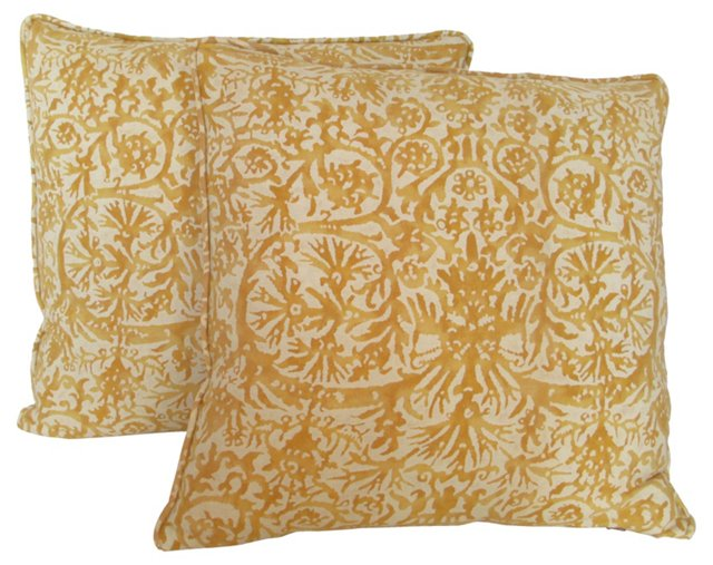 Gold & Cream Fortuny Pillows, Pair