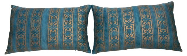Turquoise Fortuny Pillows, Pair