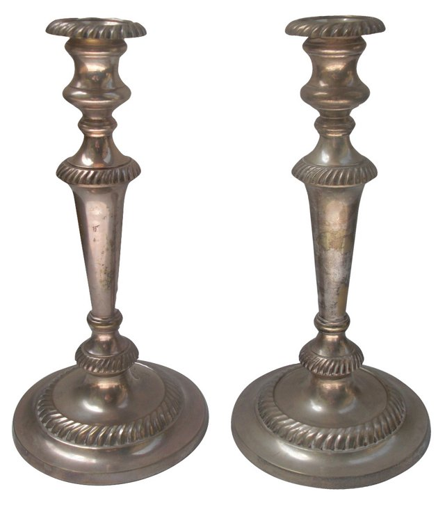 Silverplate Candlesticks, Pair