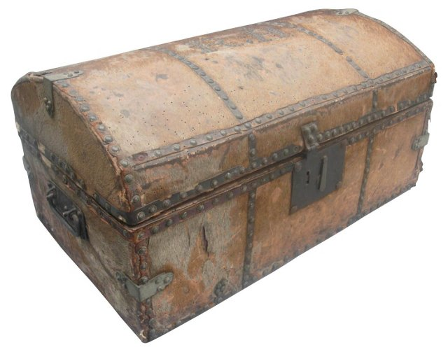 Antique Hide-Covered Travel Trunk