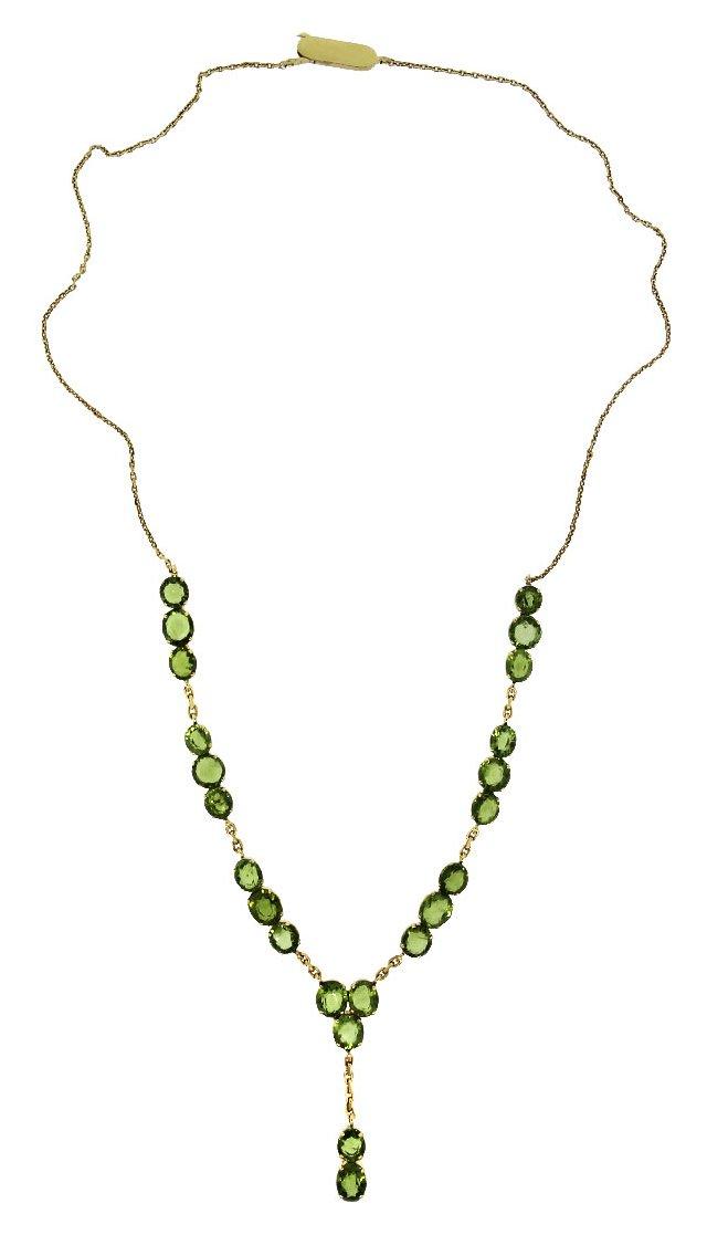 Gold Peridot Y-Necklace