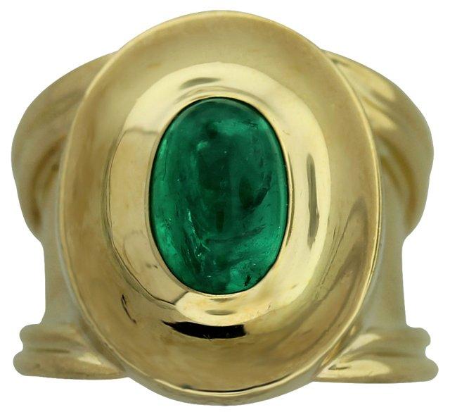 Gold & Emerald Cabochon Ring