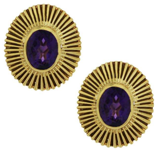 Oval Amethyst Earrings
