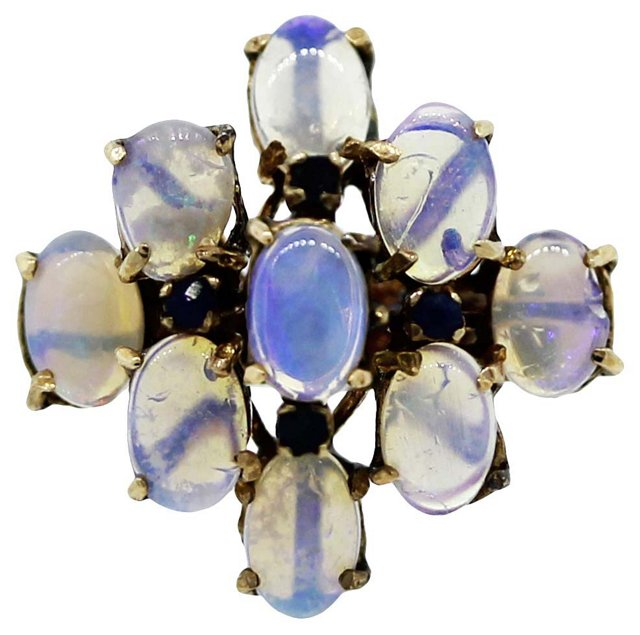 Yellow Gold, Sapphire & Opal Ring