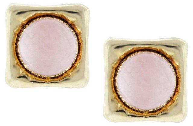 Rose Quartz Cabochon Button Earrings