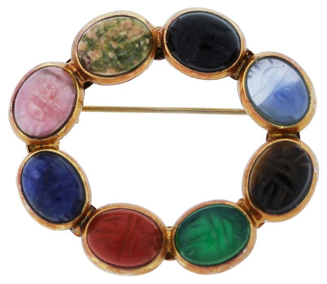 Multicolor Gemstone Pin w/ Gold Plate