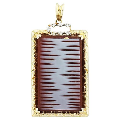 Carved Carnelian Diamond Pendant