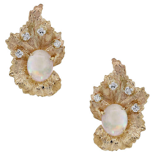Cabochon Opal & Diamond Earrings