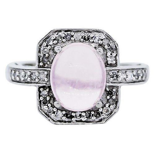 Gold, Diamond & Rose Quartz Ring