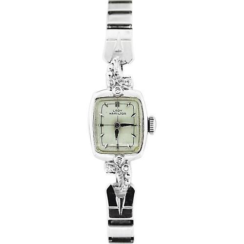 Hamilton White Gold Watch w/ Diamonds