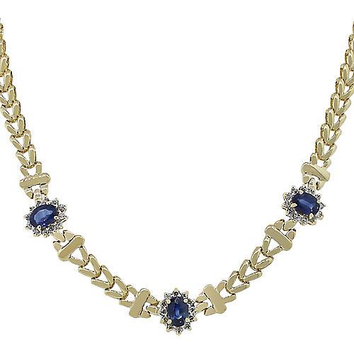 Gold, Diamond & Sapphire Necklace