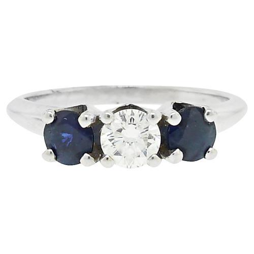 14k White Gold Diamond Sapphire Ring