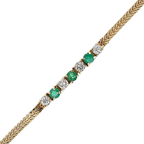 Yellow Gold Diamond and Emerald Bracelet