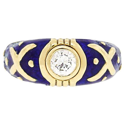 Yellow Gold 0.40ct Diamond/Enamel Ring