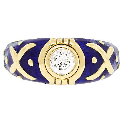 18K Gold, Diamond & Enamel Ring
