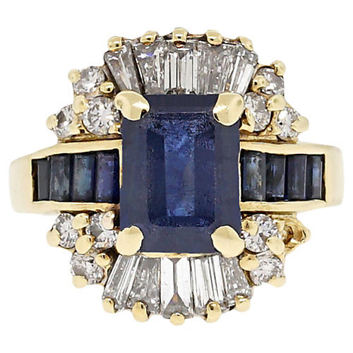 18k Yellow Gold Diamond/Sapphire Ring