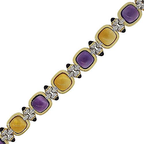 18k Yellow Gold Gemstone Bracelet