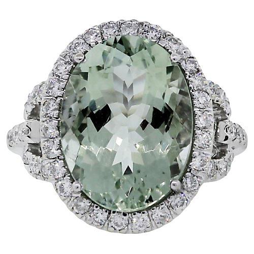 14k White Gold Prasiolite Diamond Ring