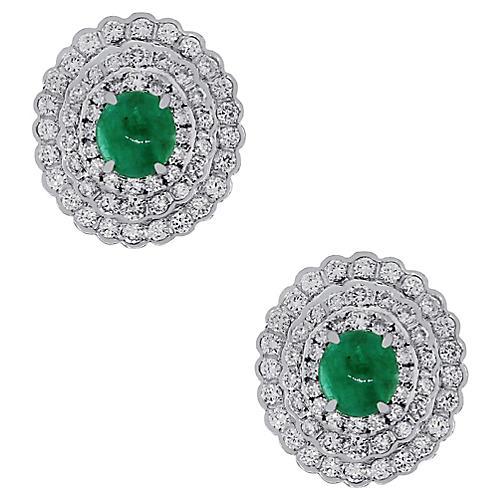 18k White Gold Emerald Diamond Earrings