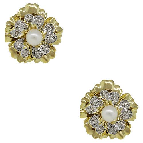 18k Diamond Flower Earrings