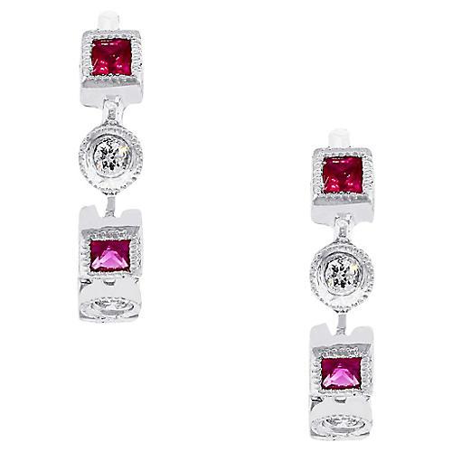 Diamond Ruby Huggie Earrings