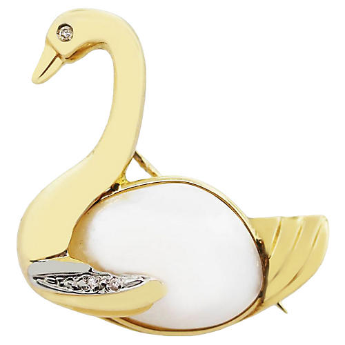 14k Diamond Mabe Pearl Swan Pin