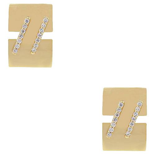 14k Diamond Rectangular Mens Cufflinks