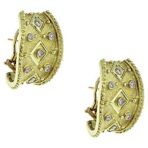 14k Round Diamond Byzantine Earrings