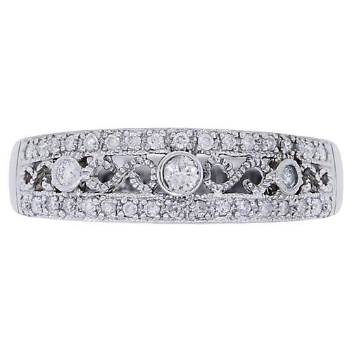 10K White Gold & Diamond Filigree Ring