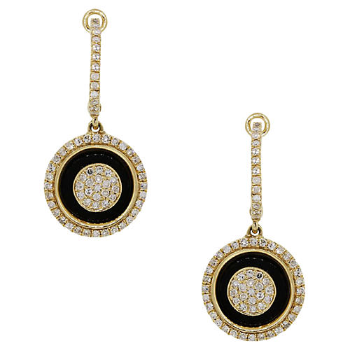 14K Gold, Diamond & Onyx Earrings