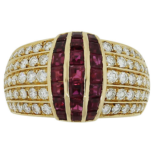 Gold, Diamond, and Ruby Cocktail Ring