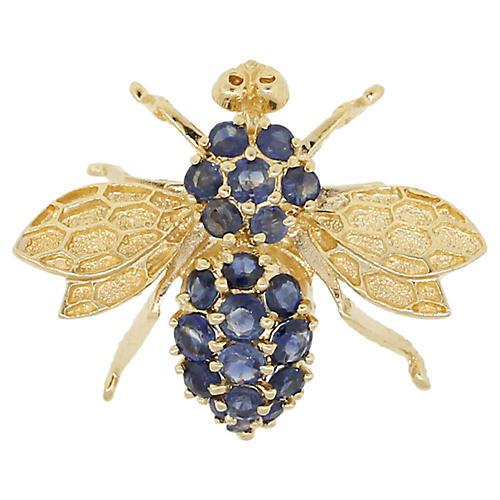 14K Gold & Sapphire Bee Brooch