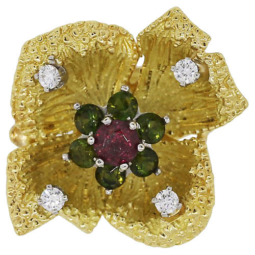 Gold Multi Stone Diamond Flower Ring
