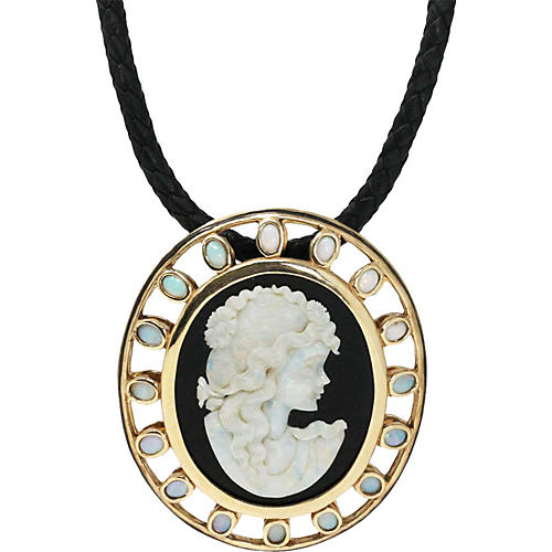 Gold, Onyx and Opal Large Cameo Necklace