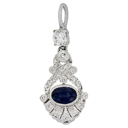 18K Gold, Sapphire & Diamond Pendant