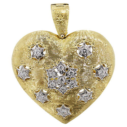 Gold & Diamond Large Heart Pendant