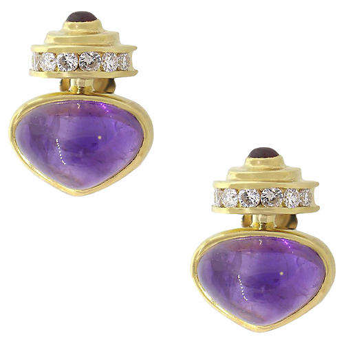 Diamond & Amethyst Cabochon Earrings