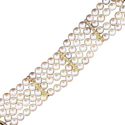 Gold, Diamond, & Pearl 4 Row Bracelet
