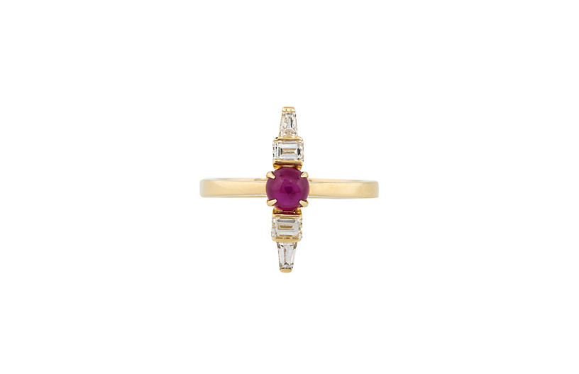 Ruby Column Ring With Diamonds