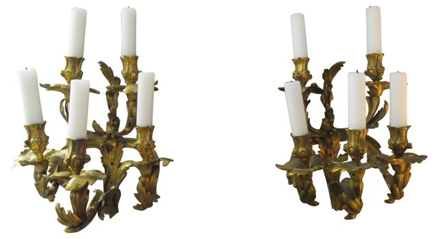 19th-C. French Candle Sconces, Pair