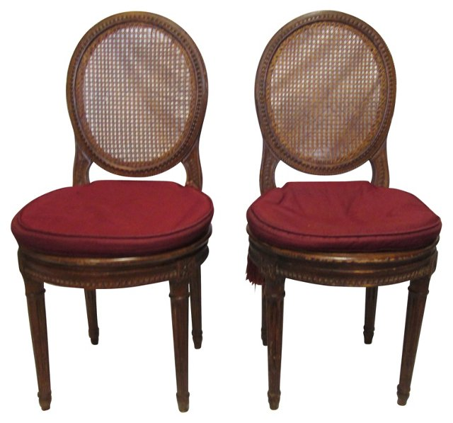 19th-C.  French Hall Chairs, Pair